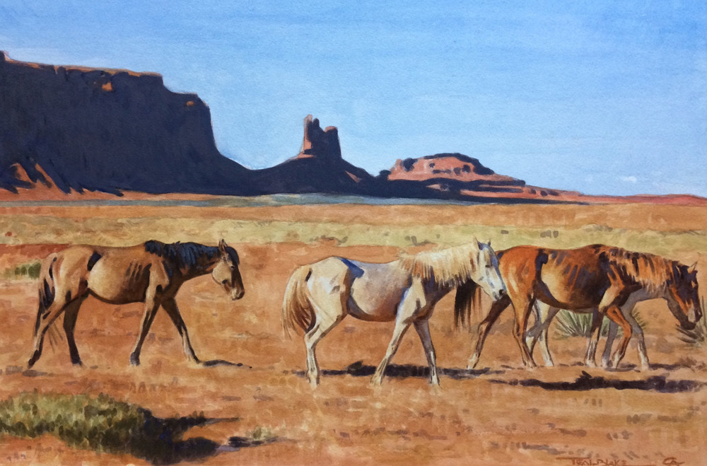 "Teal Blake ""Rez Ponies"" 16″x20″ Watercolor"