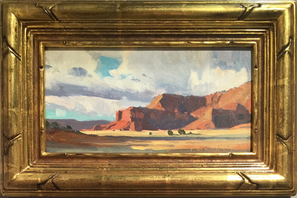 "(SOLD) G. Russell Case ""Clouds and Mesa"" 5.5″x10.5″ Oil"