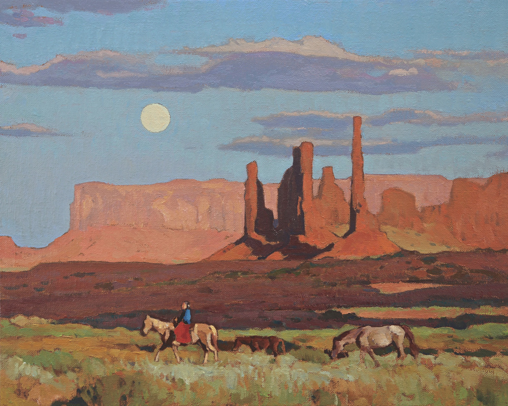 "(SOLD) Glenn Dean ""Navajo Moonrise"" 16″x20″ Oil"