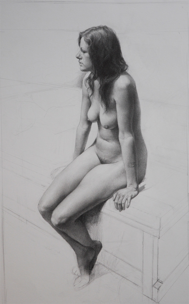 "(SOLD) Carl Dobsky ""Golden Figure"" Graphite"