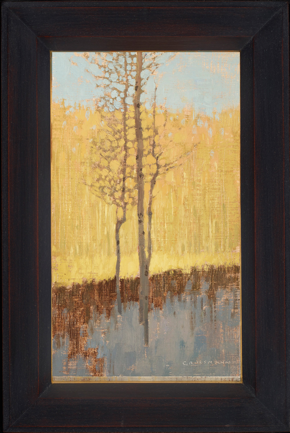 "David Grossmann ""Winter Aspens in Morning Shadow"" Oil"