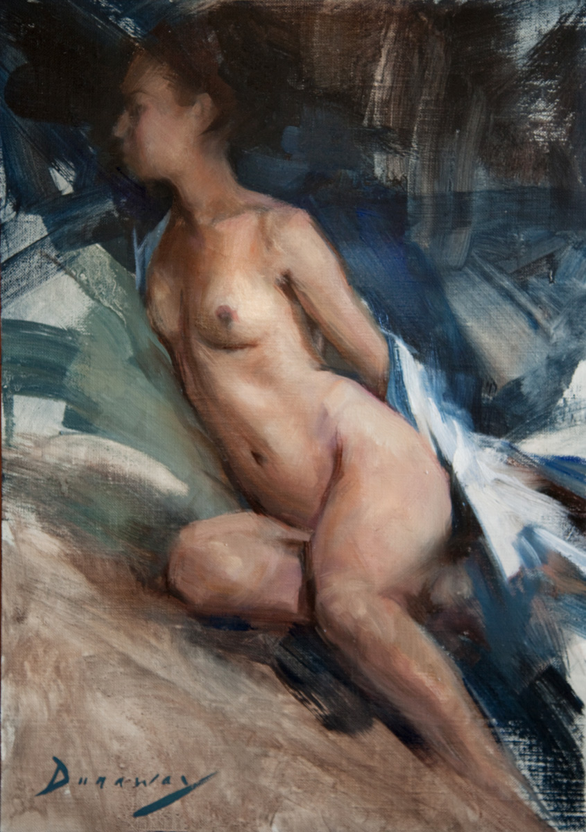 "Michelle Dunaway ""Figure with Blue"" Oil"