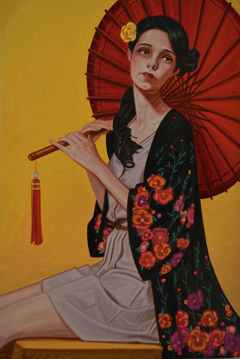 "Leonardo Villasenor ""Red Parasol"" Oil"