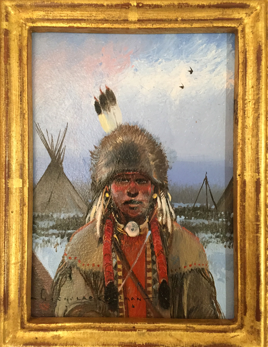 "(SOLD) Nicolas Coleman ""Winter Camp. Bear River"" Oil"