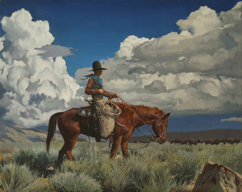 "(SOLD) Mark Maggiori ""Buffalo Herder"" 24″x30"" Oil"