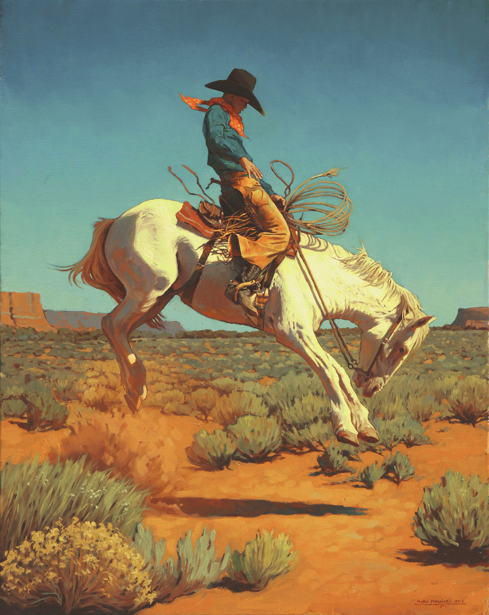 "(SOLD) Mark Maggiori ""Bronc Rider"" 30″x24″ Oil"