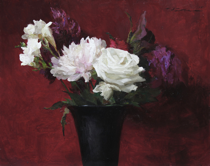 "Michael Klein ""Deep Red Bouquet"" 12″x15″ Oil"