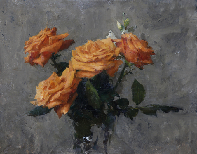"Michael Klein ""Orange Roses"" 12″x15″ Oil"