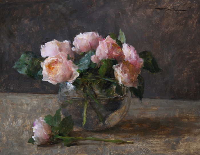 """(SOLD) Michael Klein """"Pink English Roses"""" 12″x15″ Oil"""