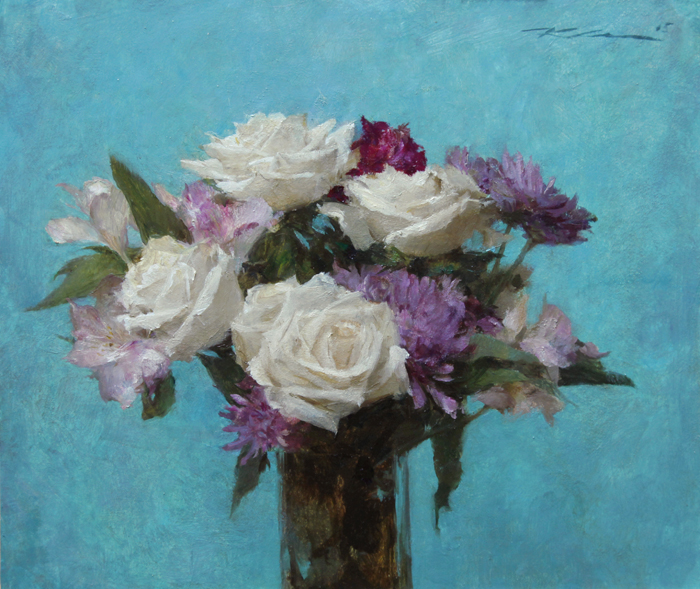 "Michael Klein ""Turquoise Floral"" 12″x14″ Oil"