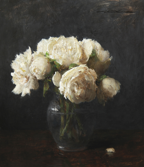 "Michael Klein ""White Peonies"" 13″x11.25″ Oil"