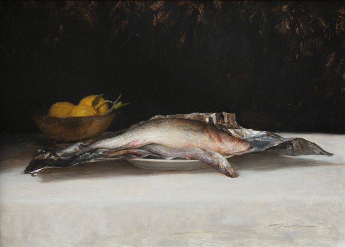 """(SOLD) Michael Klein """"Fish and Lemons"""" 18″x25″ Oil"""