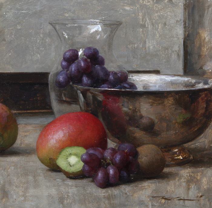 "Michael Klein ""Fruit with Silver Bowl"" 10″x10″ Oil"