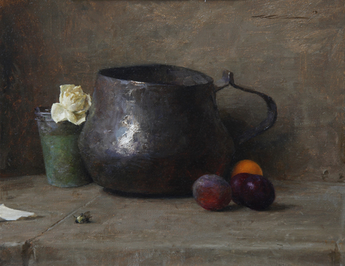 "Michael Klein ""Pot with Dried Rose"" 11″x14″ Oil"