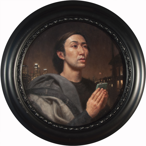 "Carl Dobsky ""iPrayer"" (Portrait of a young man) 12″ diameter Oil"
