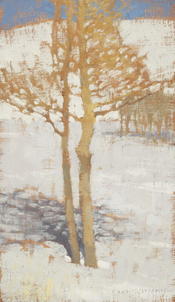 "David Grossmann ""Winter Trees Near La Veta Pass"" 12″x7″ Oil"