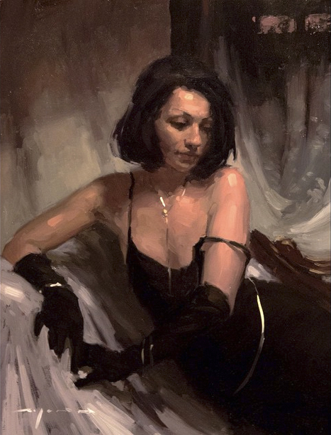 "(SOLD) Jeremy Mann ""Respite from Evening"" 10″x8"" Oil"