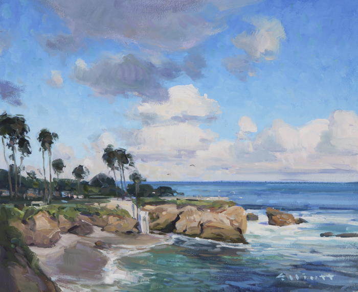 "Josh Elliott ""Clouds Above, La Jolla"" 10″x12″ Oil"
