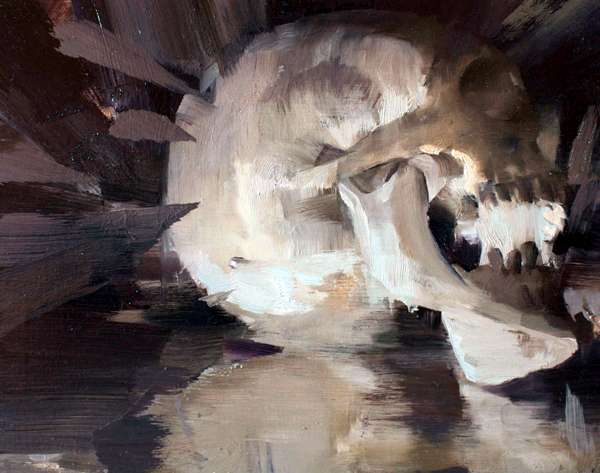 "Kim Cogan ""Skull in Profile"" 8″x10"" Oil"