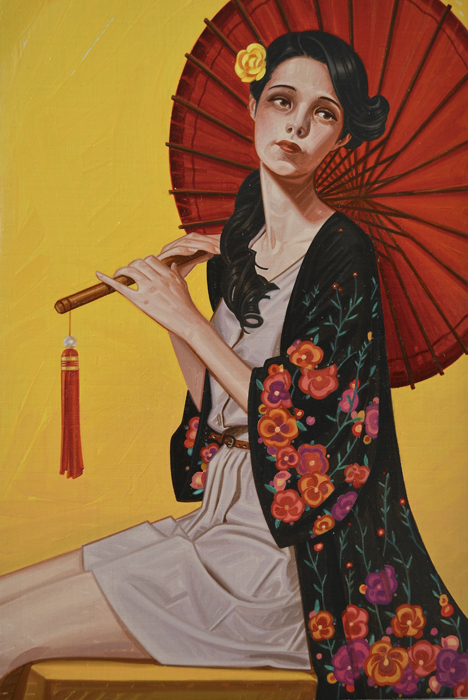 "Leonardo Villasenor ""Red Parasol"" 10.5″x7″ Oil"