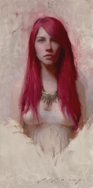 "(SOLD) Jeremy Lipking ""Red"" 16″x8″ Oil"