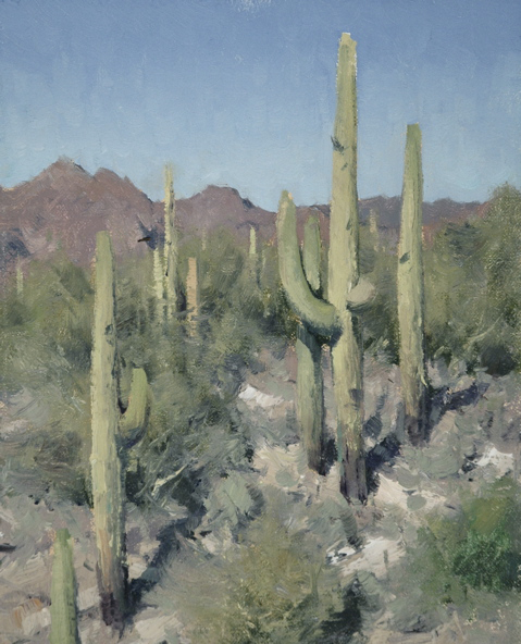 "(SOLD) Matt Smith ""Queen Valley Saguaros"" 10″x8"" Oil"