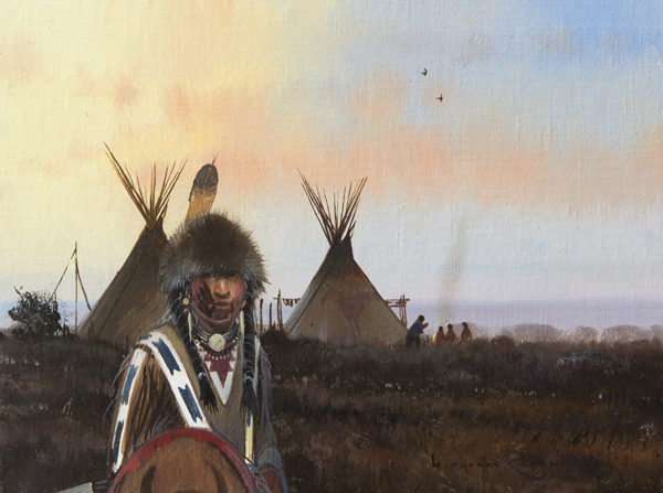"Nicholas Coleman ""Blood Tribe at Dusk"" 12″x16″ Oil"