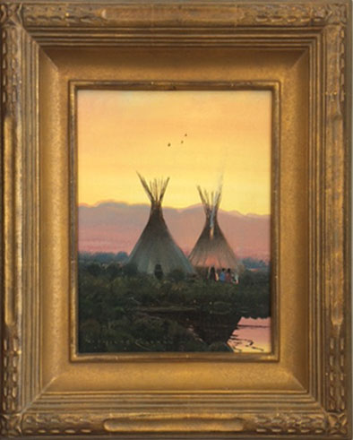 "(SOLD) Nicholas Coleman ""Bear River Camp"" 10″x8″ Oil"