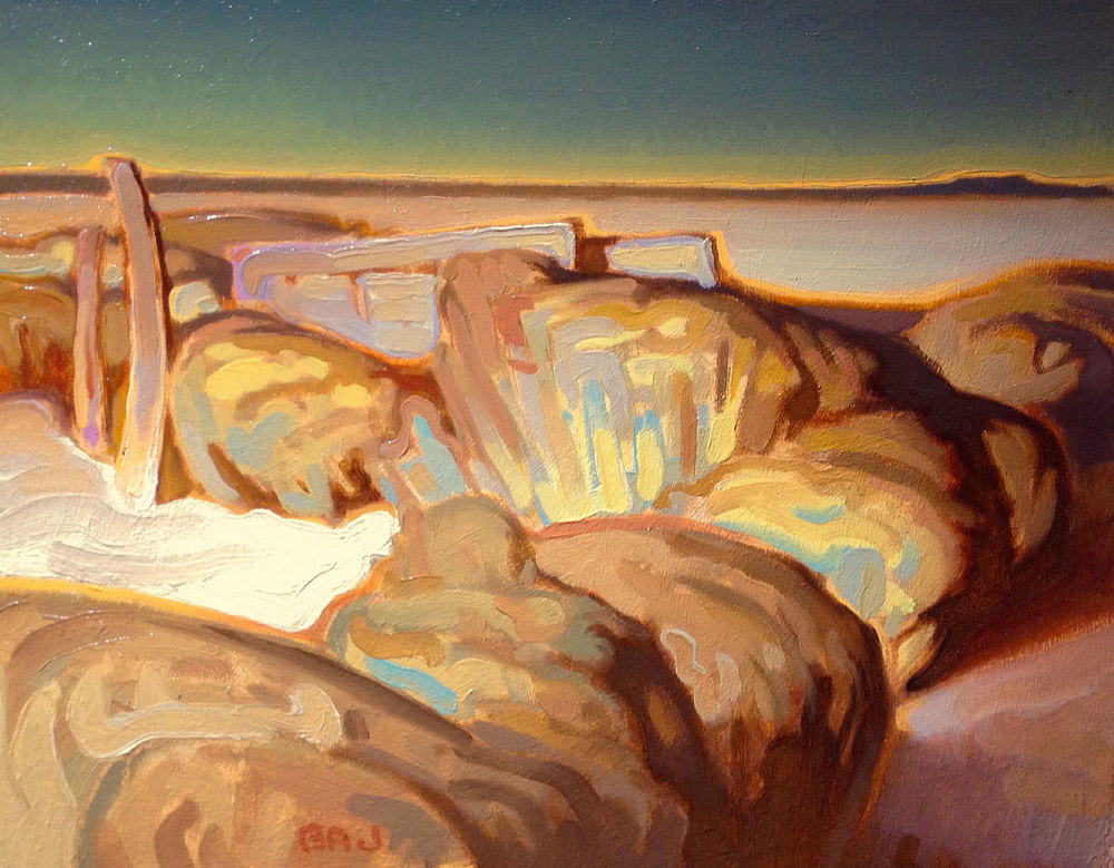 "Brett Allen Johnson ""Sage and Distant Mesa"" 8″x10″ Oil"
