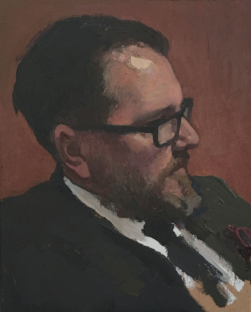"(SOLD) Glenn Dean ""Portrait of Jeremy Lipking"" 10″x8″ Oil"