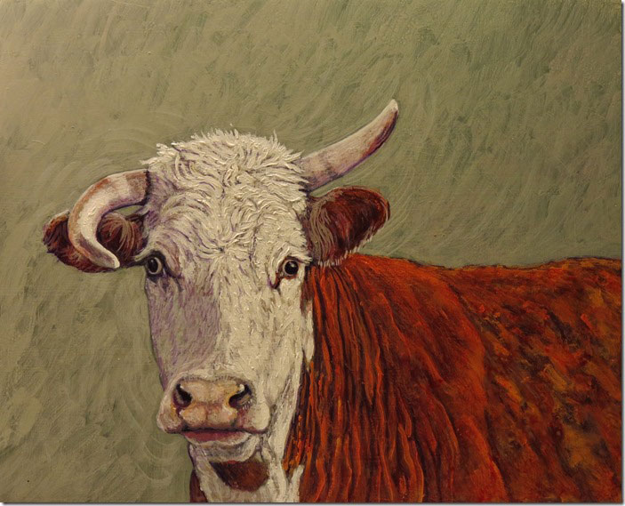 "(SOLD) Phil Epp ""Wild Cow"" 8″x10″ Oil"