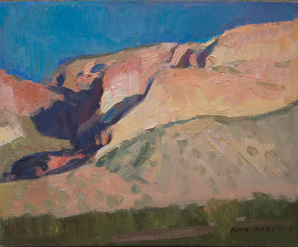 "(SOLD) Ray Roberts ""Goldfield Cliffs, Arizona"" 8″x10″ Oil"