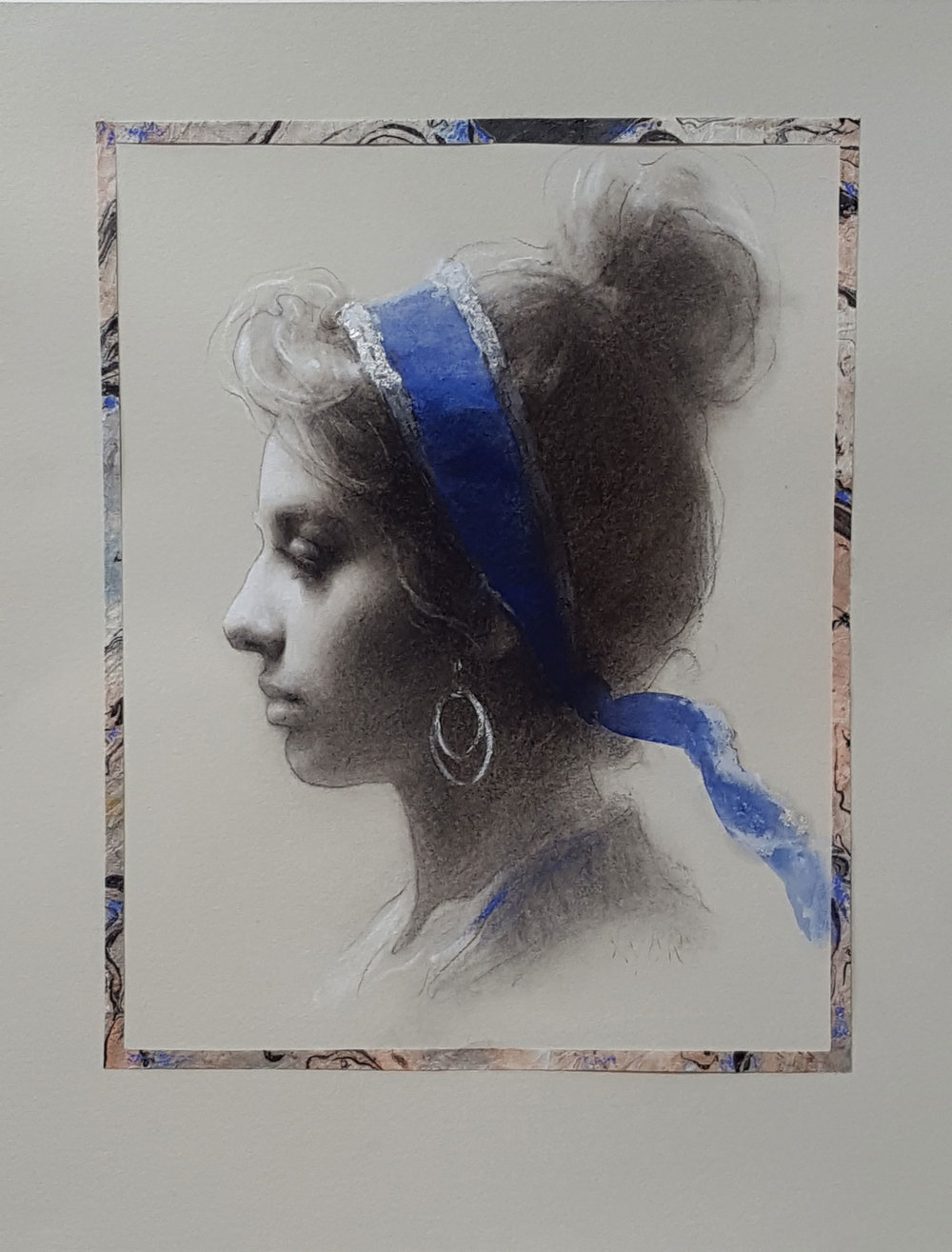 "Susan Lyon ""Blue Scarf"" 10″x8″ Charcoal, Pastel, and Watercolor"
