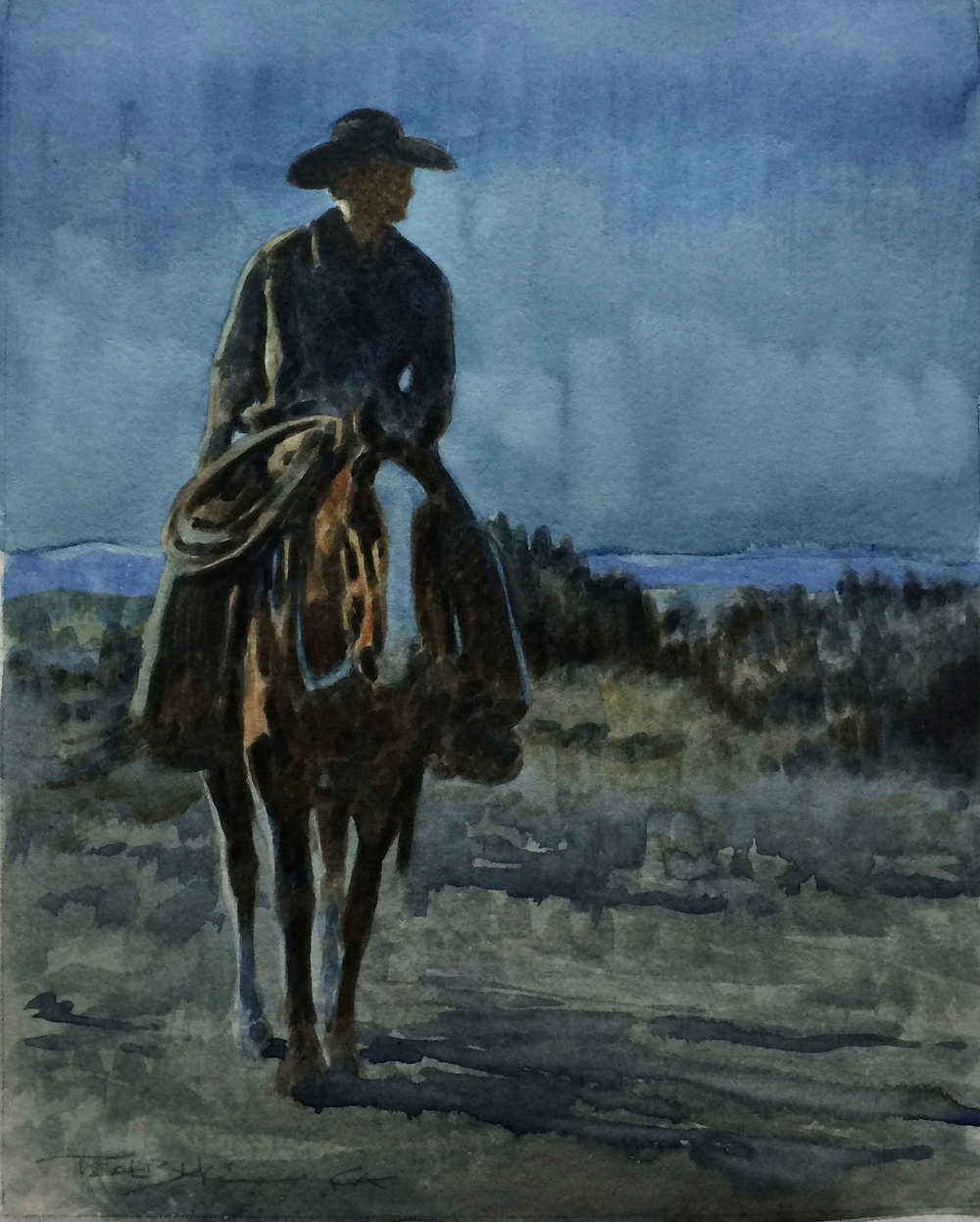 "Teal Blake ""Horse Thief Moon"" 10″x8″ Watercolor"