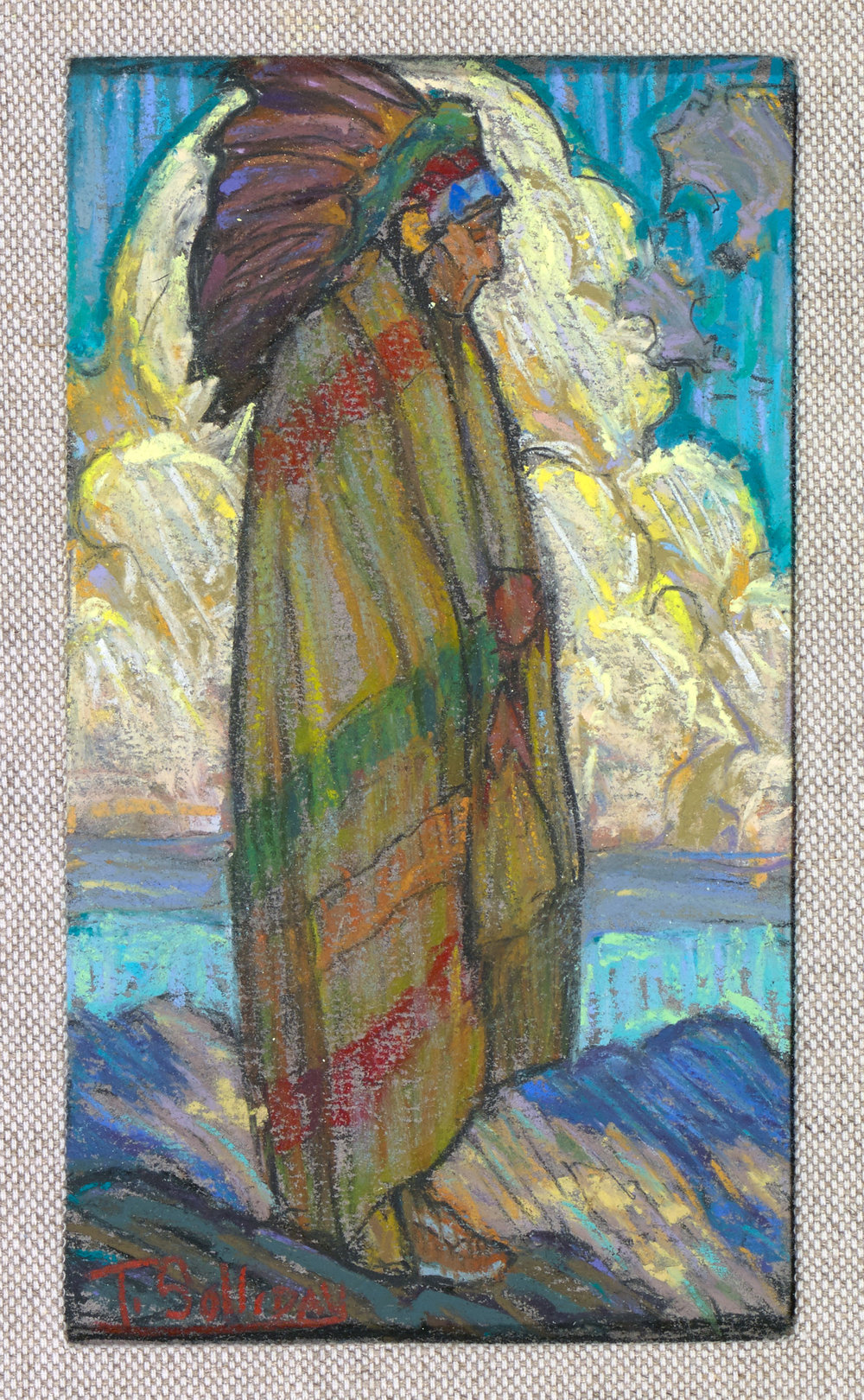 "(SOLD) Tim Solliday	""Cloud Watcher"" Pastel 6″ x 3.5″"