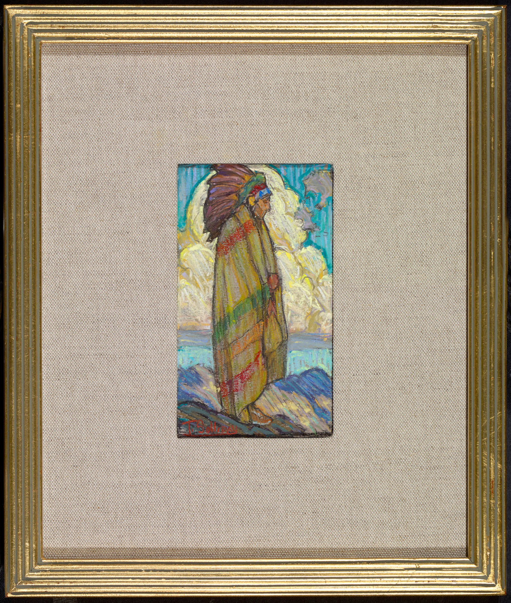 "(SOLD) Tim Solliday	""Cloud Watcher"" Pastel 6″ x 3.5″ (Framed)"
