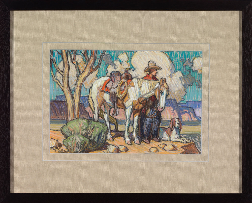 "(SOLD) Tim Solliday	""Three Close Friends"" Pastel 7.25″ x 10.75″ (SOLD)"