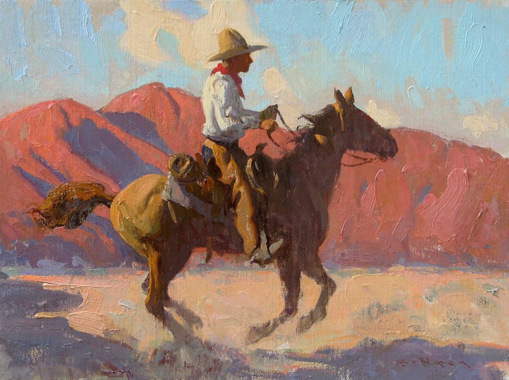 "(SOLD) Eric Bowman ""Morning Rider"" Oil 12″x16″"