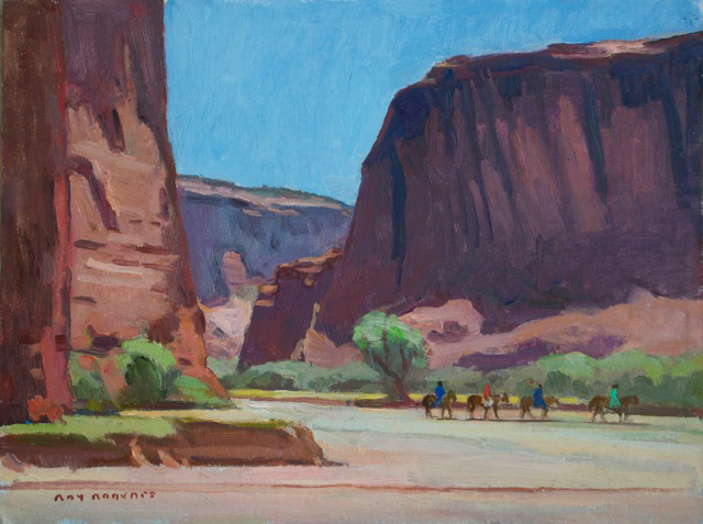 "Ray Roberts ""Horseback Riders, Canyon de Chelly"" Oil 12″x16″"