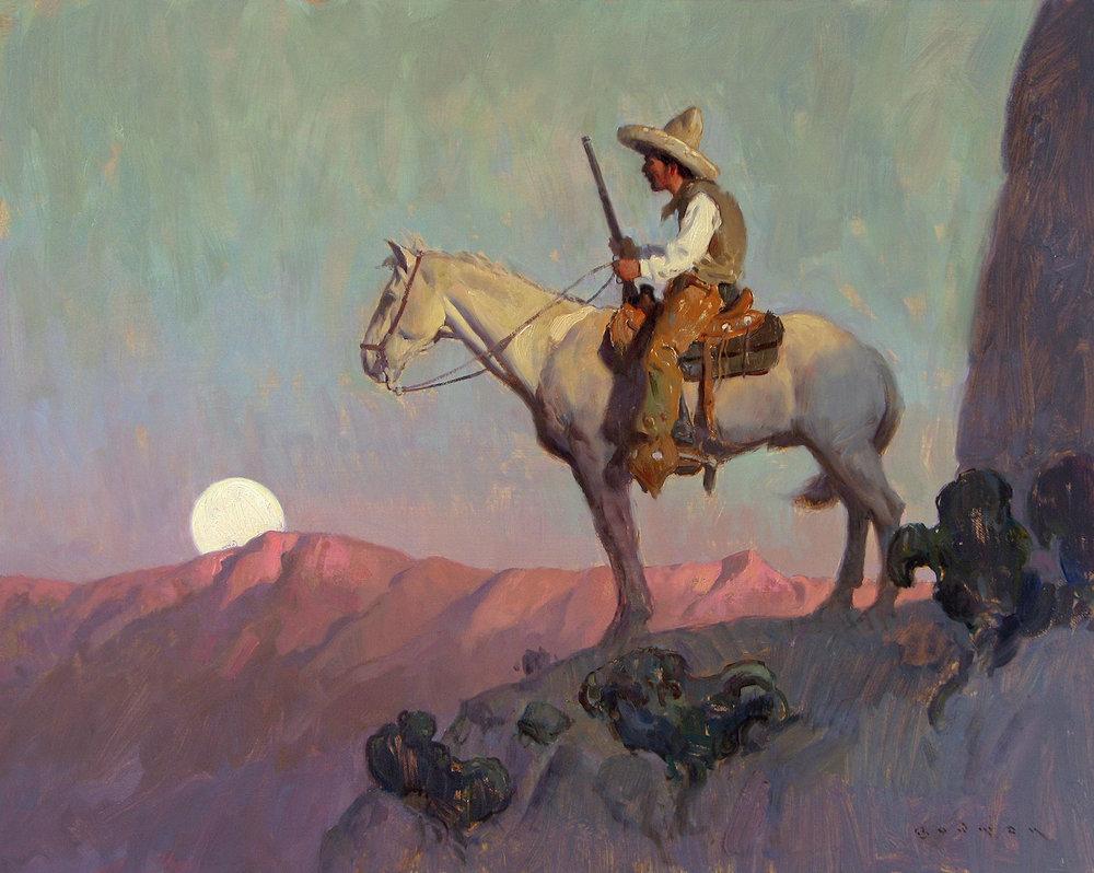 "(SOLD) Eric Bowman ""Desert Sentinel"" Oil 16″x20″"