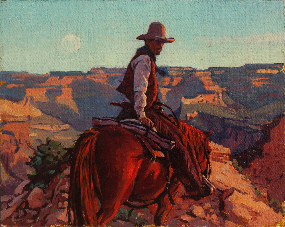 "(SOLD) Mark Maggiori ""Moon Rising on the South Rim"" 8″x10"" Oil"