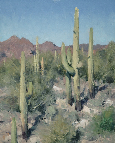 "(SOLD) Matt Smith ""Queen Valley Saguaros"" 10""x8"" Oil"