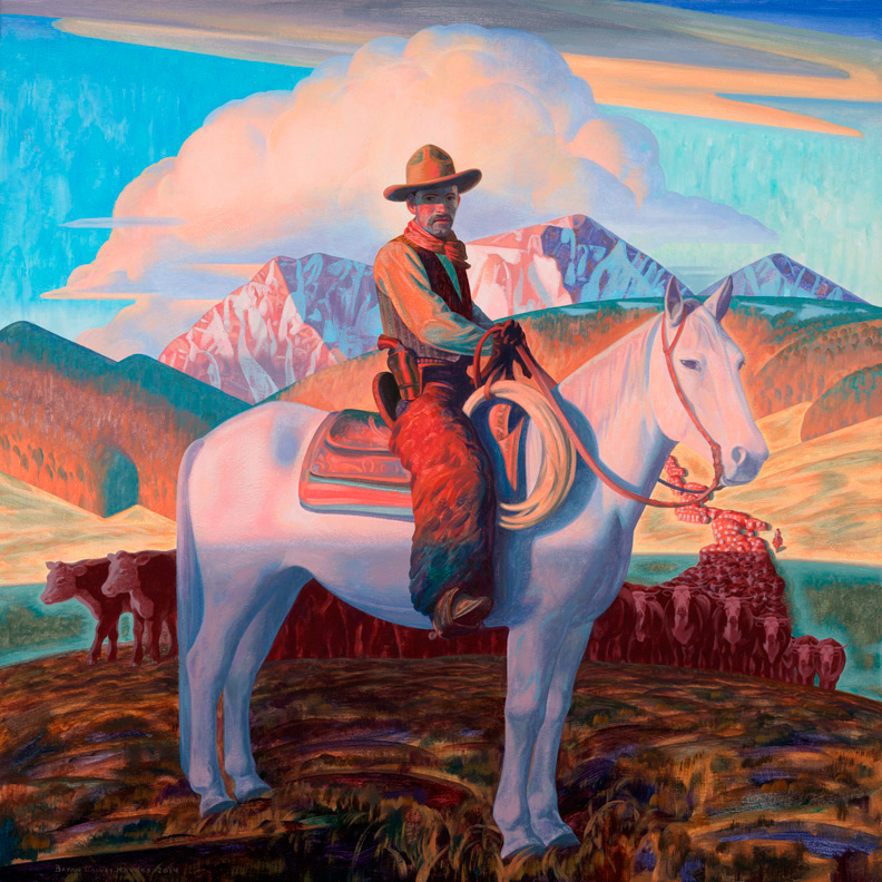 "(SOLD) Bryan Haynes ""Harvey House Cowboy"" 28""x28"" Oil"