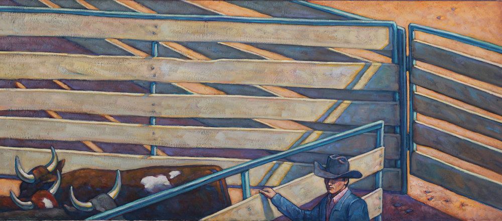 "Howard Post ""Working Gates"" 21""x48"" Oil"