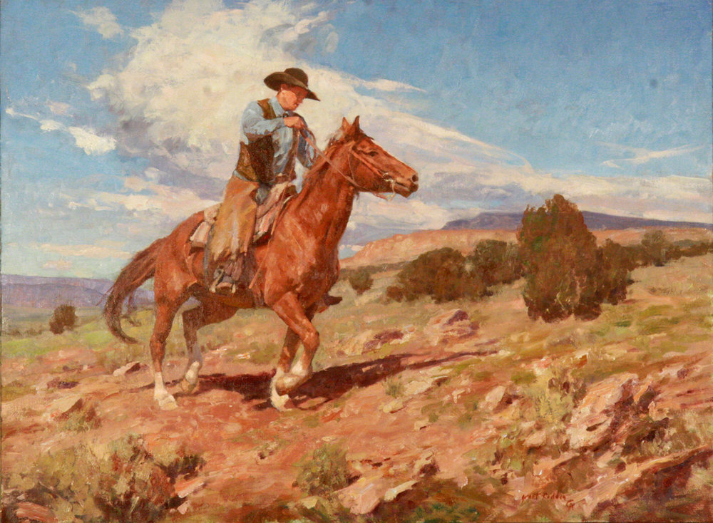 "Grant Redden ""Wyoming Cow Puncher"" 18""x24"" Oil"