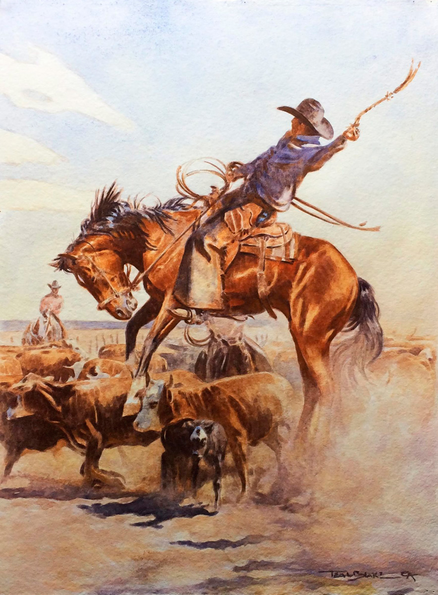 "Teal Blake ""The Bronc Peeler"" 22""x16"" Watercolor"