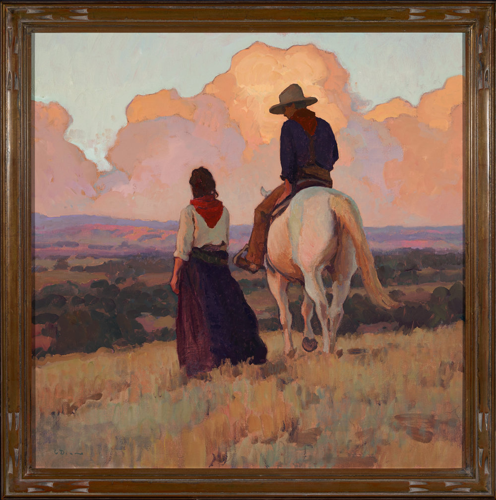 "(SOLD) Glenn Dean ""Sundown at the Ranch"" 30""x30"" Oil"