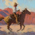 "Eric Bowman, ""Morning Rider,"" oil, 12x16"