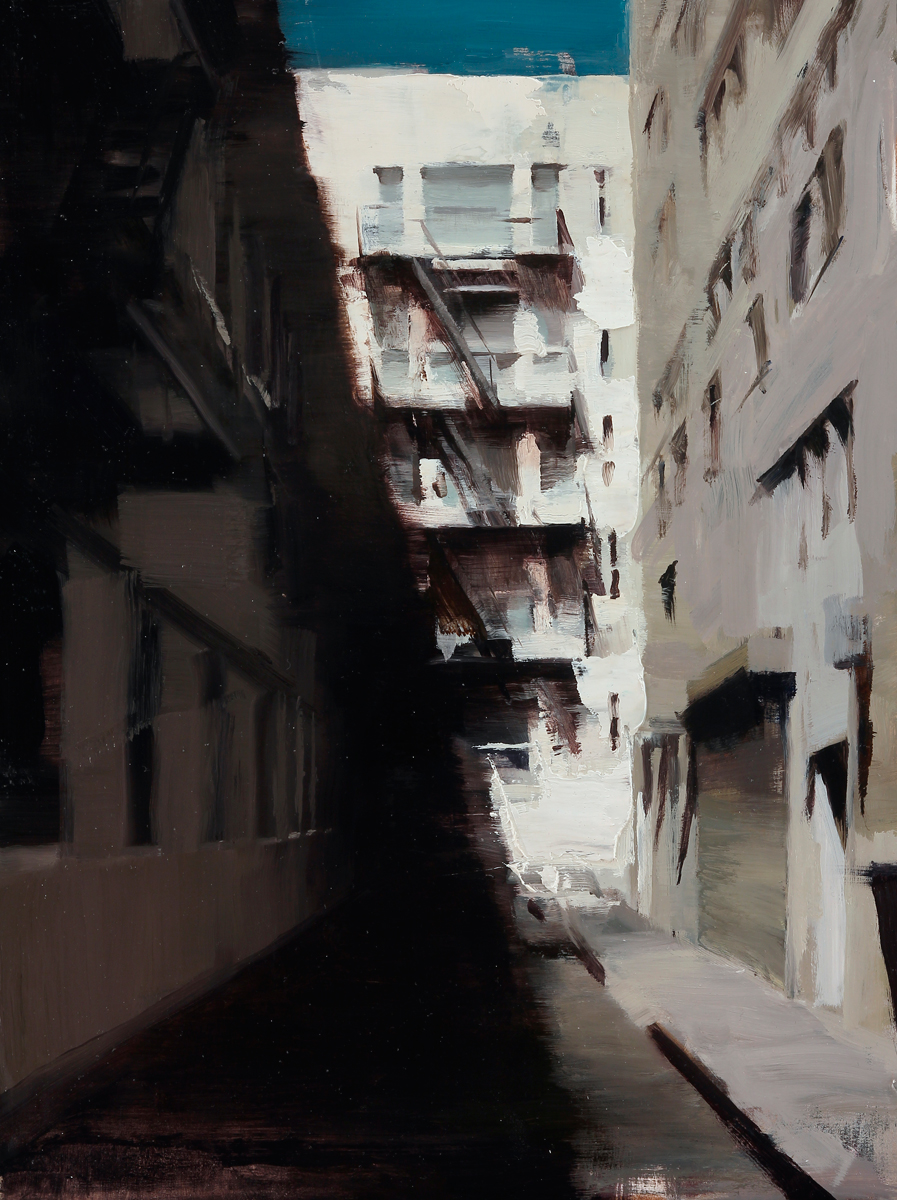 "(SOLD) Kim Cogan ""Shadows of an Alley"" 16""x12"" Oil"