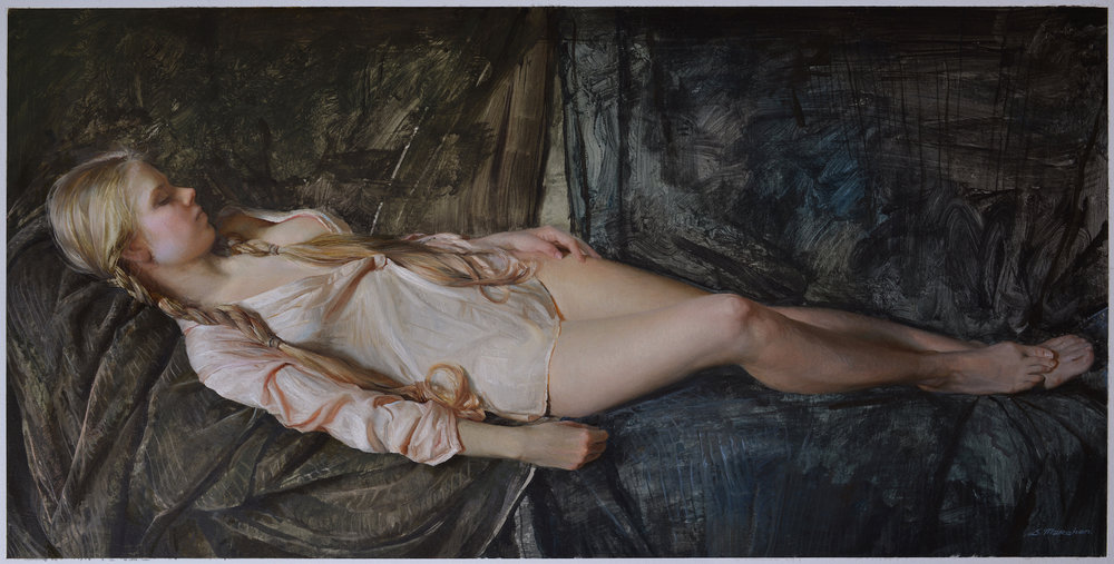 "(SOLD) Serge Marshennikov ""Short Rest"" 15""x30"" Oil on Paper"